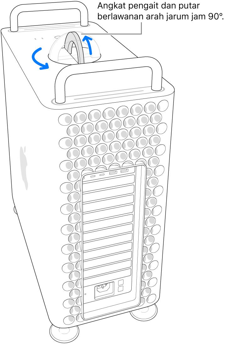 Menampilkan langkah pertama untuk melepas casing komputer dengan mengangkat kait dan memutarnya sejauh 90 derajat.