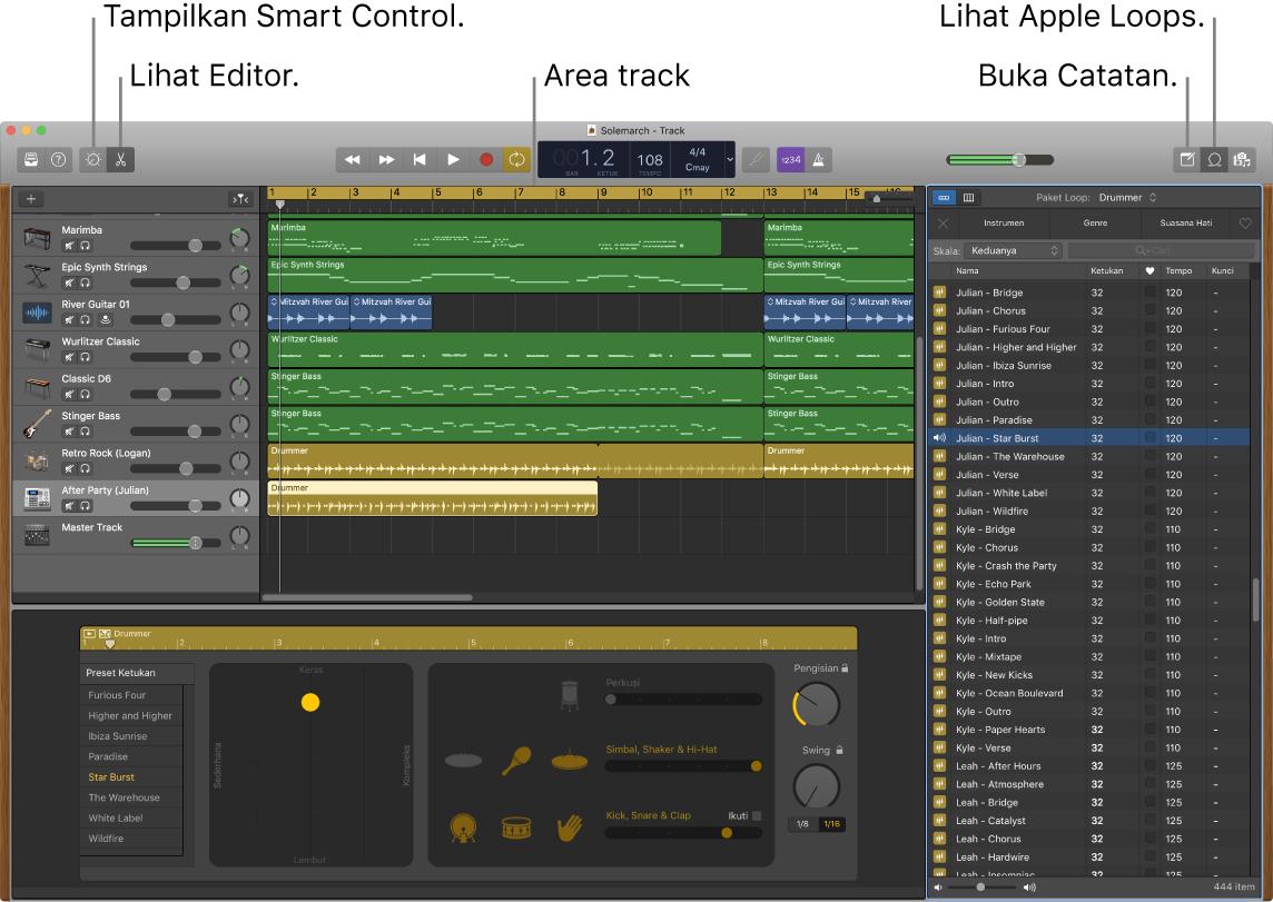 Jendela GarageBand menampilkan tombol untuk mengakses Smart Controls, Editor, Catatan, dan Apple Loops. GarageBand juga menampilkan tampilan track.