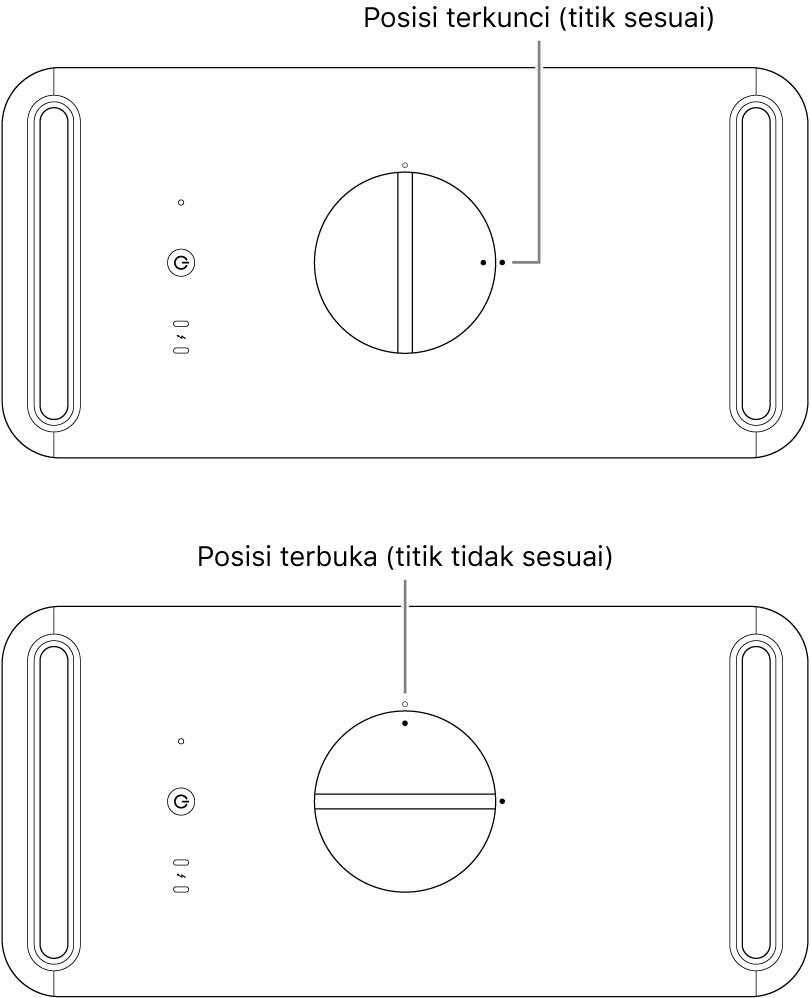 Bagian atas casing komputer menampilkan kait dalam posisi terkunci dan terbuka.