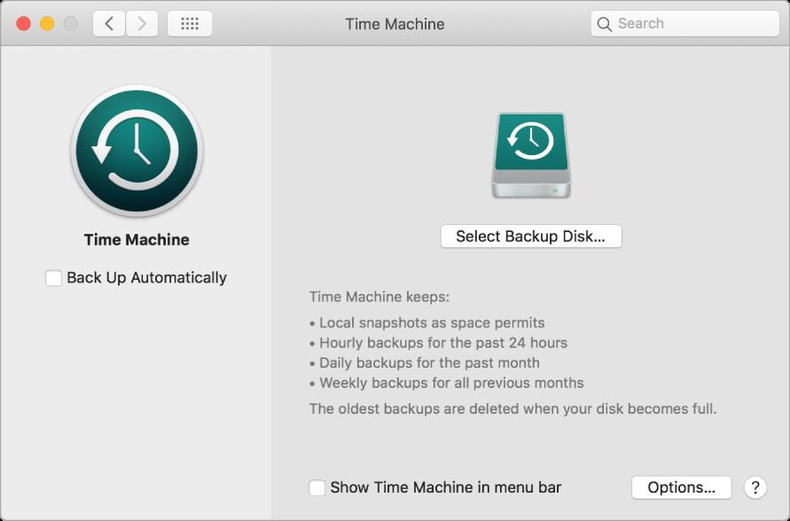 Time Machine сақтық көшірмелеу терезесі.