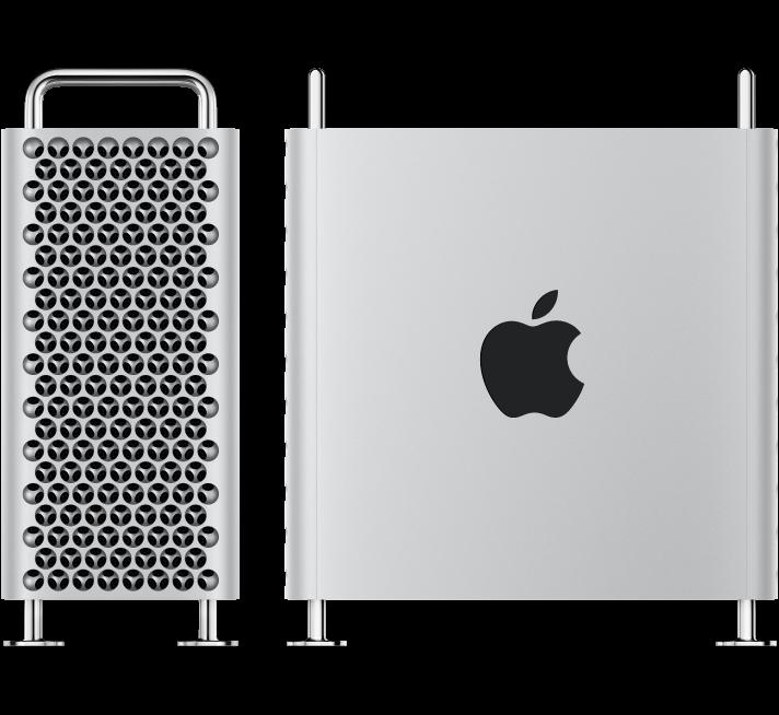 Mac Pro компьютерінің екі суреті; біреуі шеткі көрініс, ал екіншісі бүйірлік көрініс.