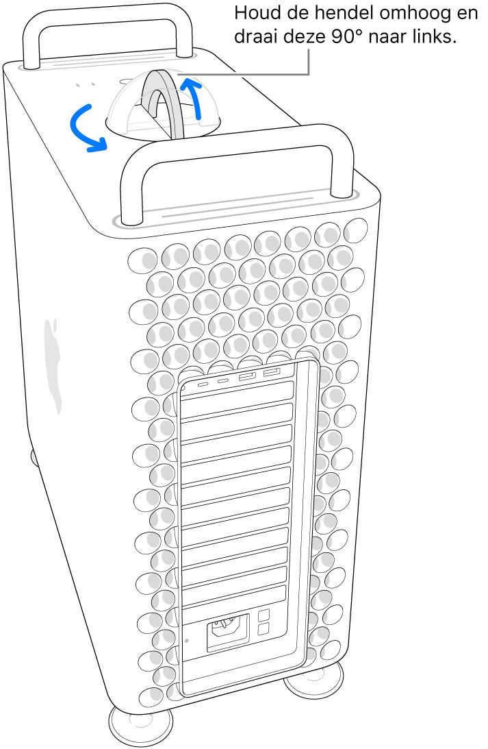 Illustratie van de eerste stap voor het verwijderen van de computerbehuizing door de hendel op te tillen en 90graden te draaien.