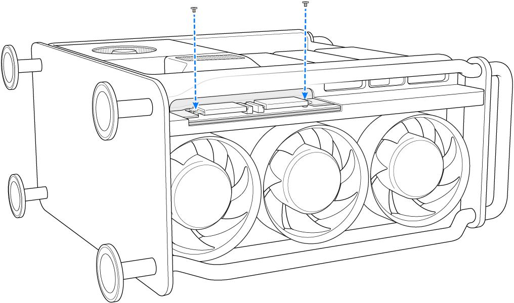 Een MacPro op zijn kant waarbij wordt aangegeven hoe twee schroeven worden geïnstalleerd.