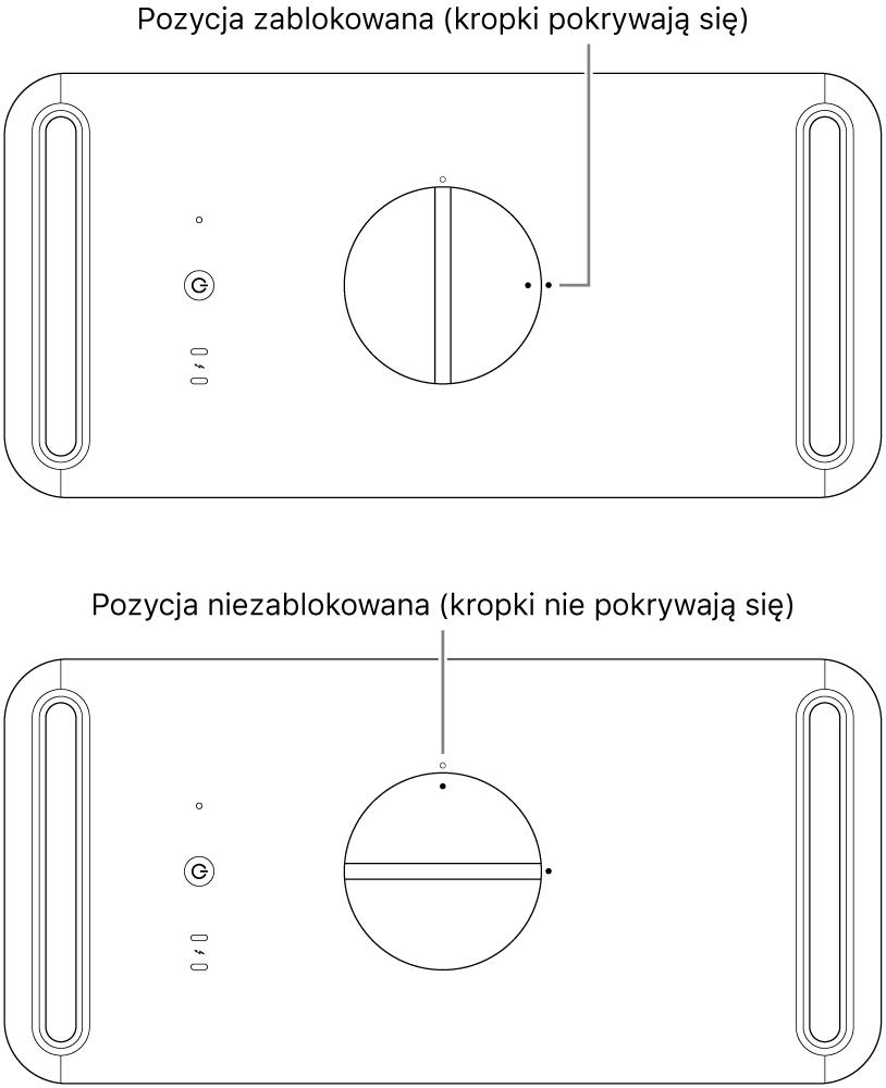 Widok górnej części komputera wraz zuchwytem wpozycji zablokowanej oraz odblokowanej.