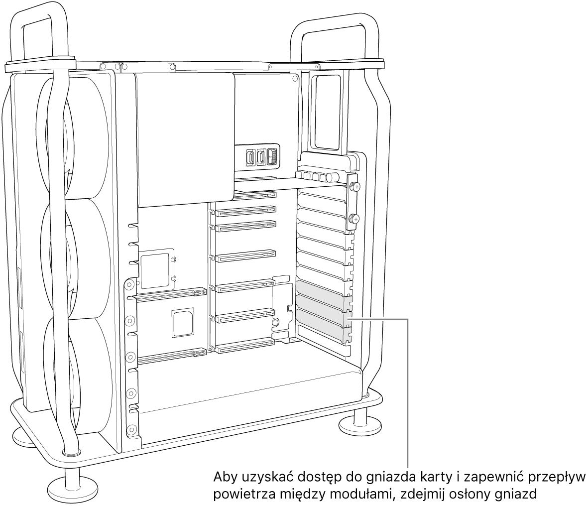 Aby uzyskać dostęp do gniazda karty izapewnić przepływ powietrza między modułami, zdejmij osłony gniazd.