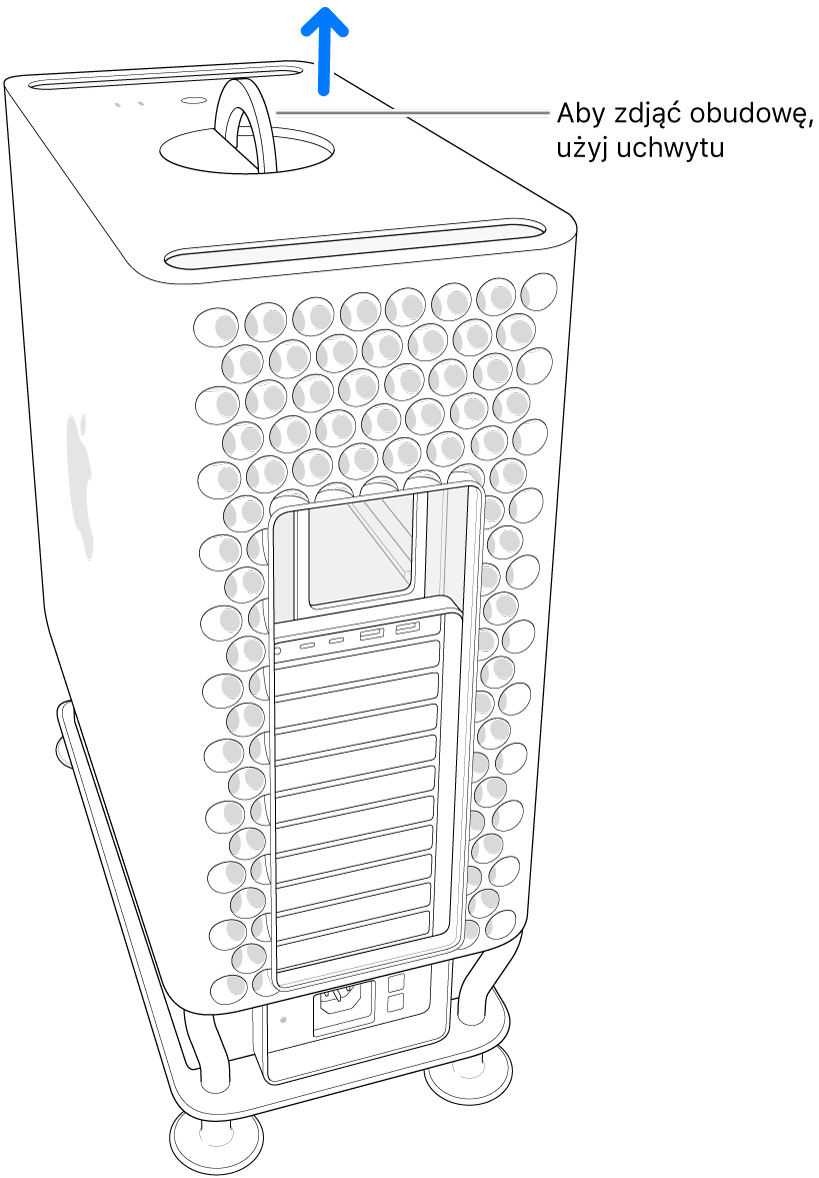Pociągamy do góry, aby unieść obudowę komputera.