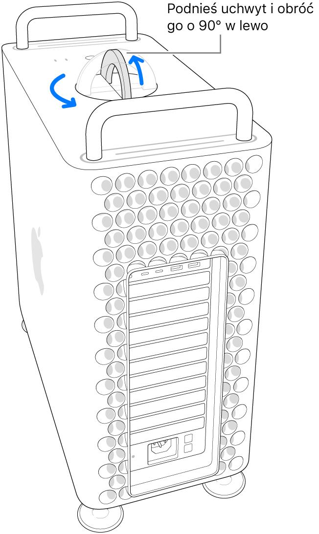 Pokazany jest pierwszy krok zdejmowania obudowy komputera, przez podniesienie uchwytu iobrócenie go o90 stopni.