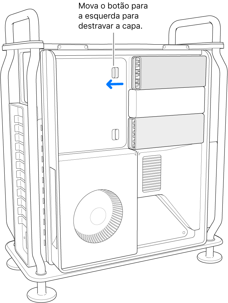 A trava está sendo movida para a esquerda para desbloquear a capa do DIMM.
