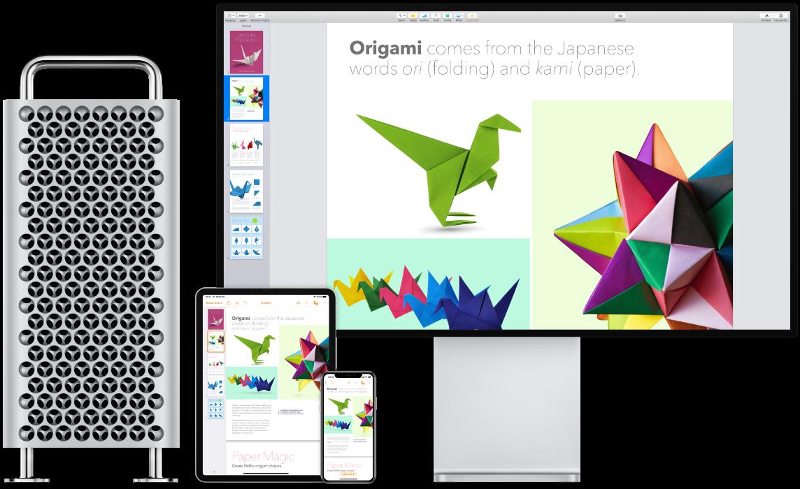 Conteúdo idêntico mostrado em um MacPro, iPad e iPhone.