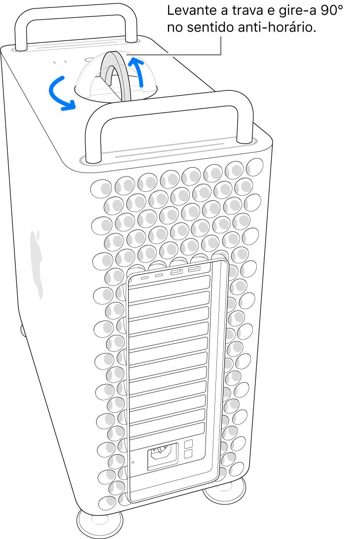 Mostrando o primeiro passo para remover o gabinete do computador ao levantar a trava e girá-la em 90 graus.