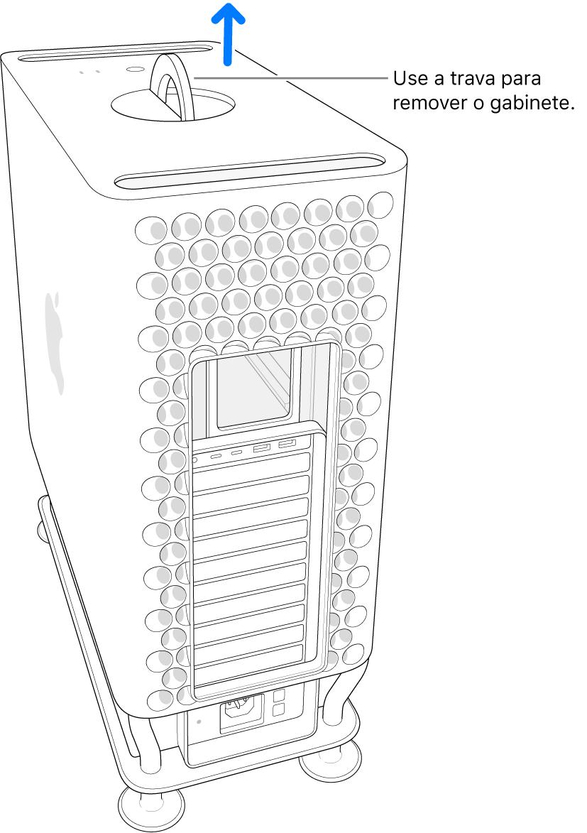 A trava foi girada e está virada para cima; o gabinete está sendo removido do computador.