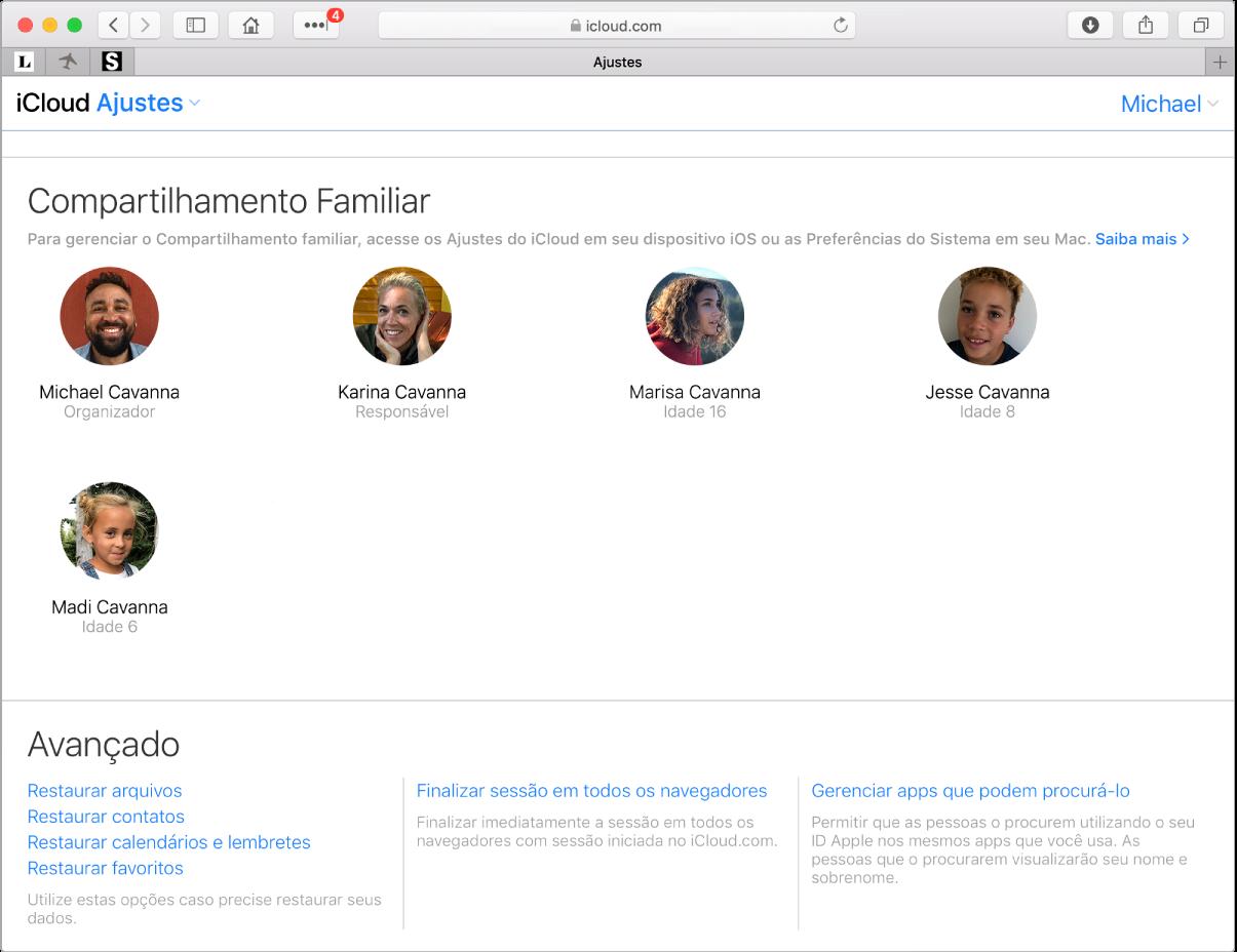 Uma janela do Safari mostrando os ajustes do Compartilhamento Familiar em iCloud.com.