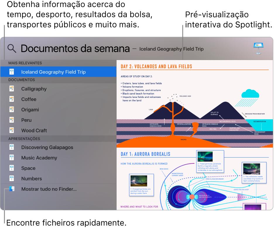 Janela do Spotlight a mostrar resultados de pesquisa à esquerda e uma pré-visualização à direita.