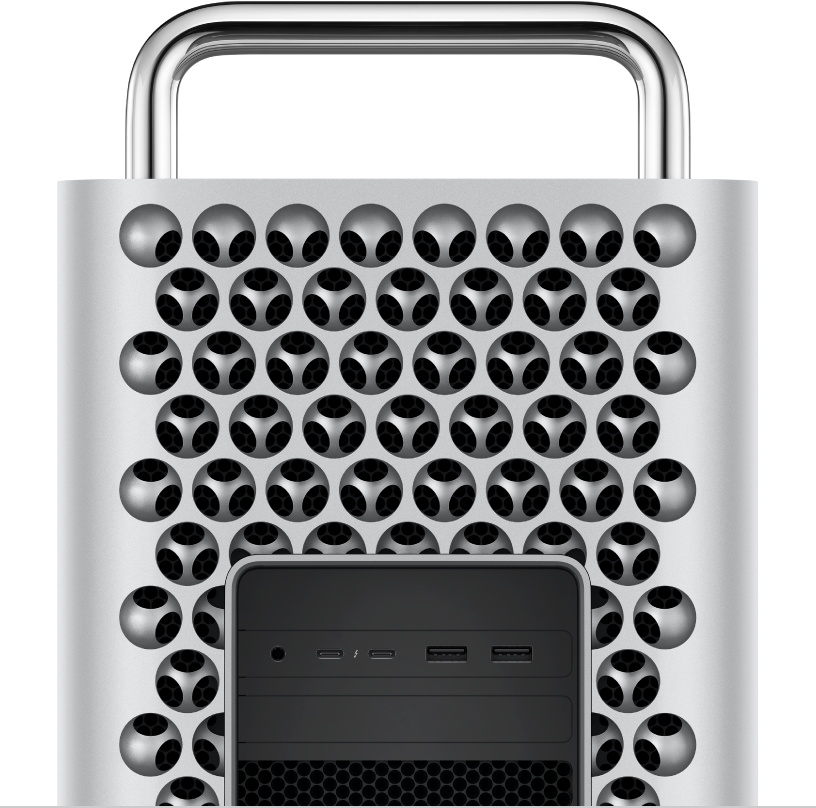 Vista em primeiro plano das portas e conectores do Mac Pro.
