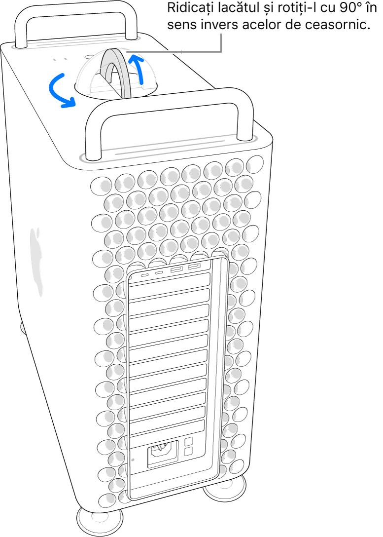 Se prezintă primul pas pentru scoaterea carcasei computerului prin ridicarea lacătului și rotirea lui la 90 de grade.