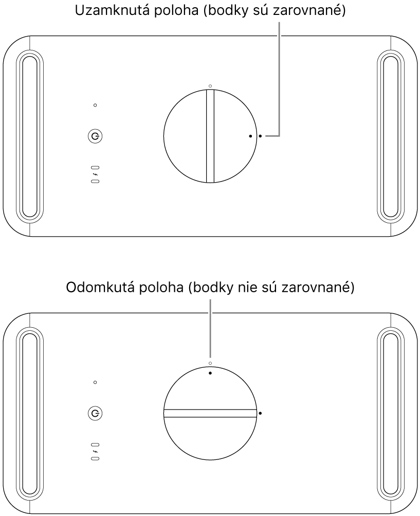 Vrchná strana skrinky počítača so zobrazením západky vzamknutej aodomknutej polohe.