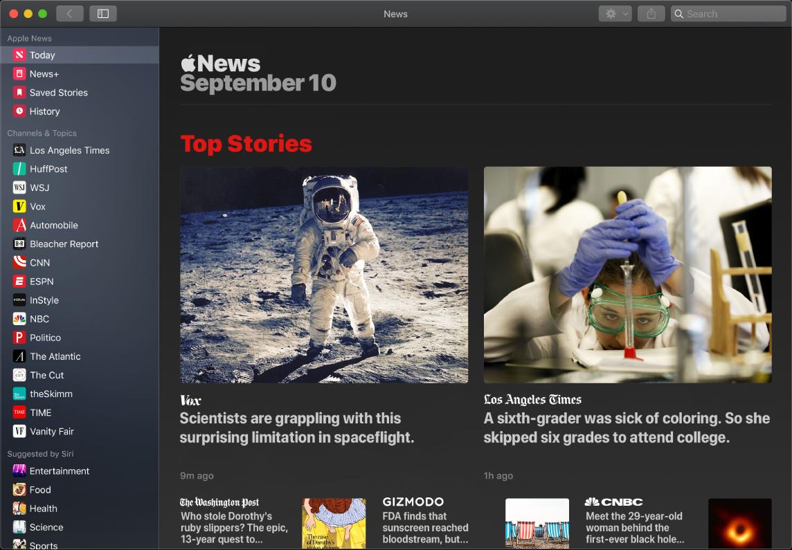 Okno aplikácie News zobrazujúce zoznam sledovaných položiek azobrazenie Top Stories (Najlepšie články).
