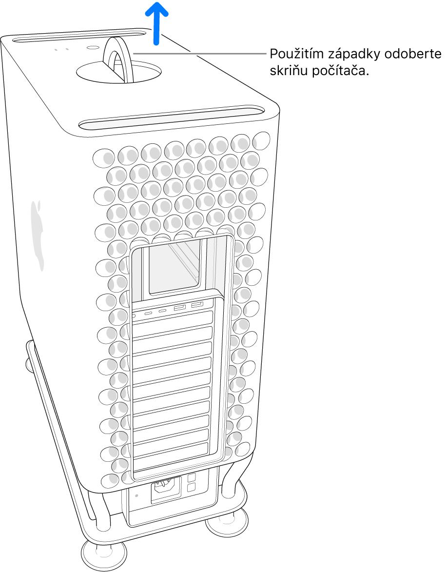 Západka je otočená a smeruje nahor, skrinka je zdvihnutá zpočítača.