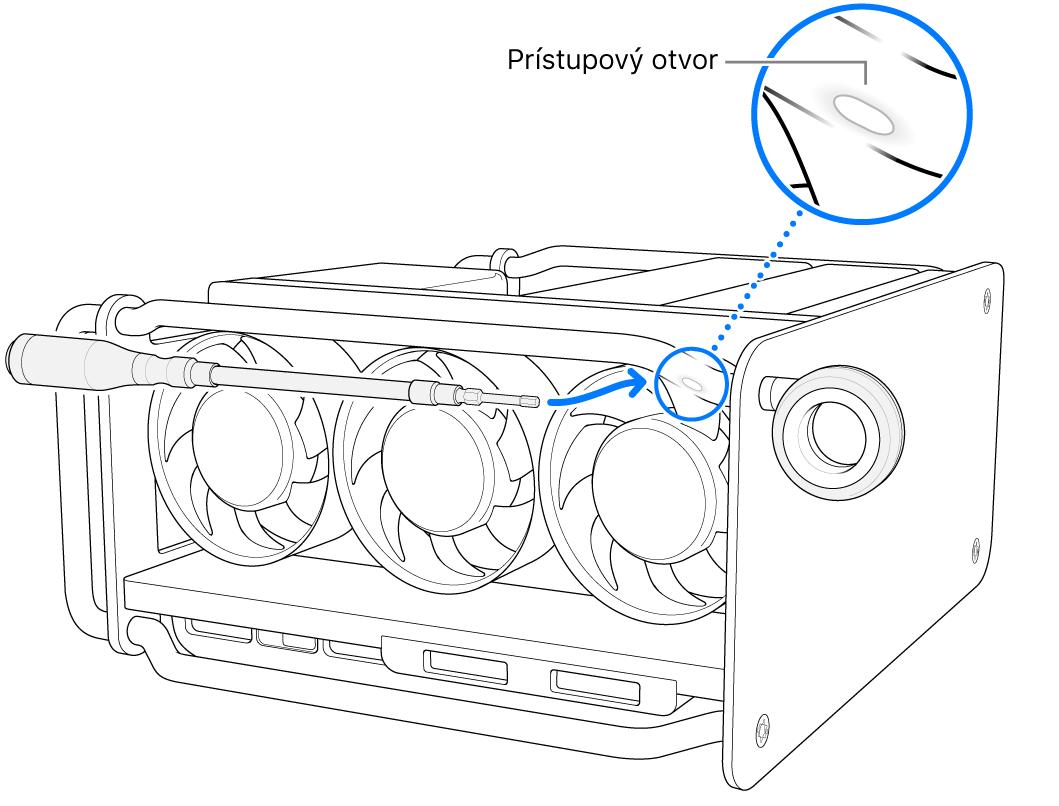 Zarovnanie skrutkovača sprístupovým otvorom.