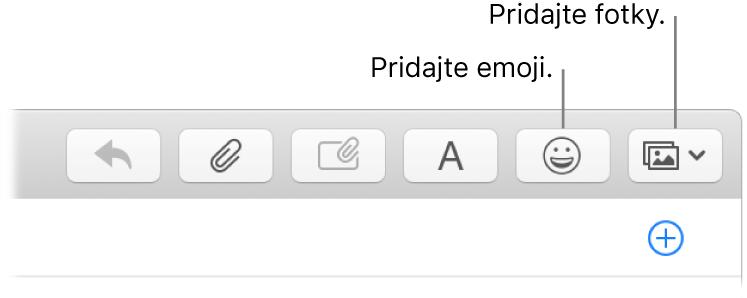Okno na písanie správy, vktorom sú zobrazené tlačidlá emoji afotky.