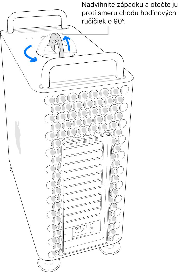 Zobrazenie prvého kroku, vktorom je potrebné nadvihnúť západku, otočiť ju o90° azložiť skrinku počítača.