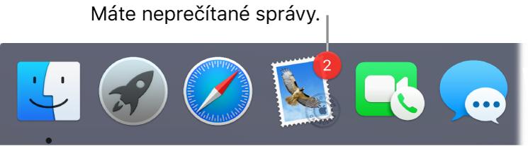 Časť Docku zobrazujúca ikonu aplikácie Mail sodznakom označujúcim počet neprečítaných správ.