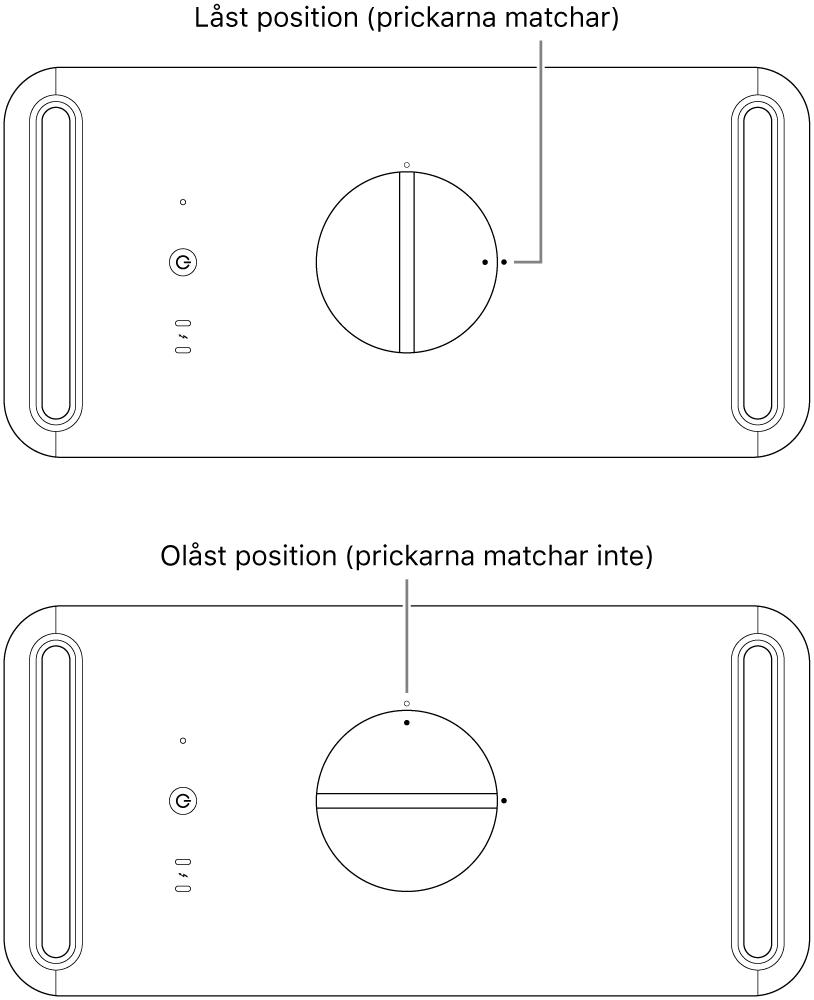 Datorhöljet ovanifrån med spärren i låst och olåst position.