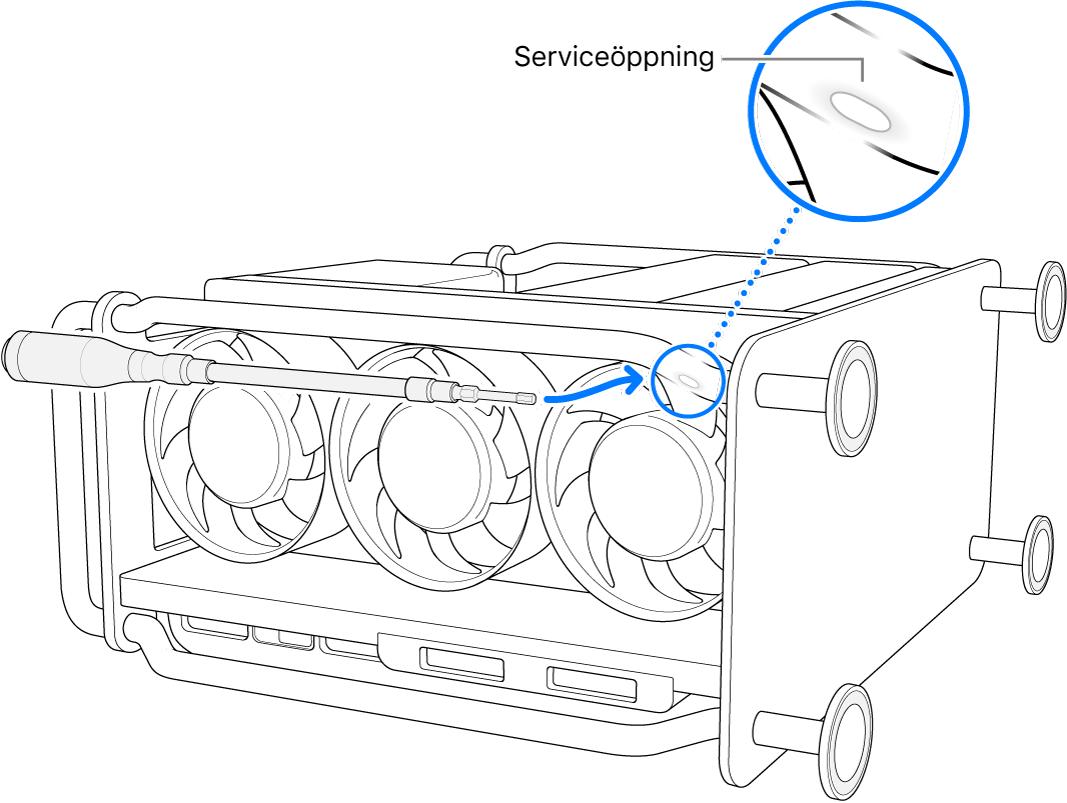 Mac Pro ligger på sidan med en flexibel bitshållare riktad mot serviceöppningen.