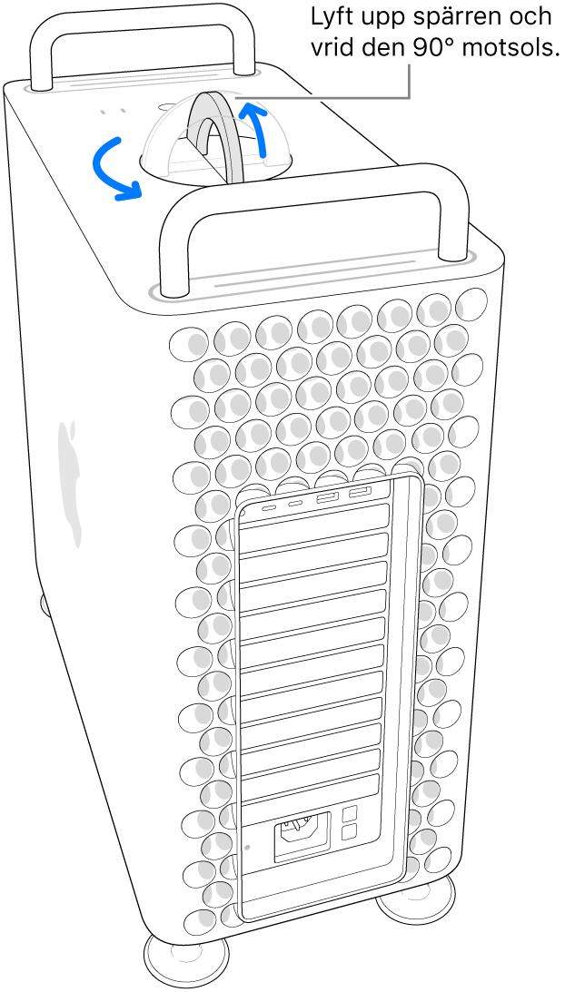 Här visas första steget för att ta bort datorns hölje genom att lyfta upp spärren och vrida den 90 grader.