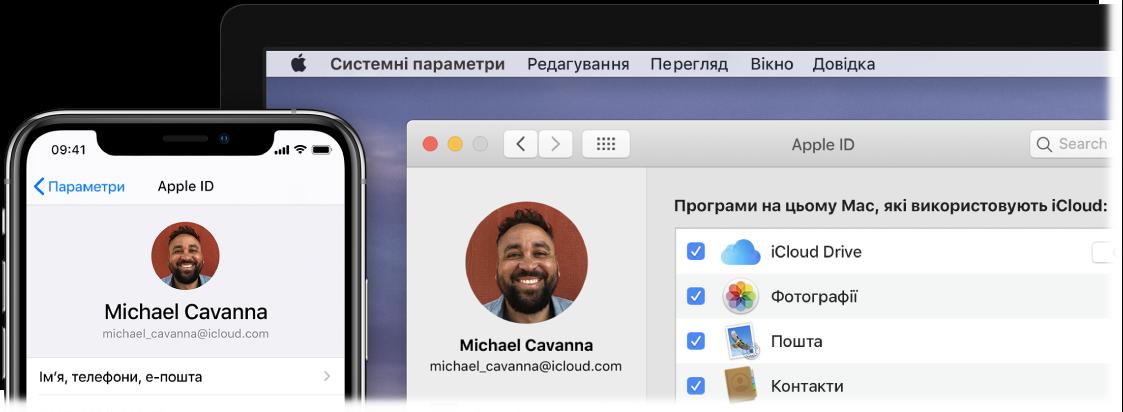 Пристрій iPhone із параметрами iCloud і екран Mac, на якому показано вікно iCloud.