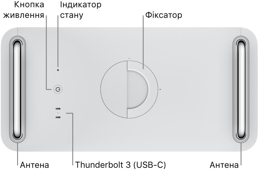 Показано верхню частину MacPro, на якій розміщено кнопку живлення, світловий індикатор системи, фіксатор, антену й два порти Thunderbolt3(USB-C).