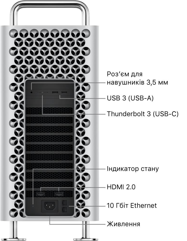 Вигляд MacPro збоку з гніздом 3,5мм для навушників, двома портами USB-A, двома портами Thunderbolt3 (USB-C), світловим індикатором стану, двома портами HDMI 2.0, двома портами 10 Gigabit Ethernet і портом живлення.