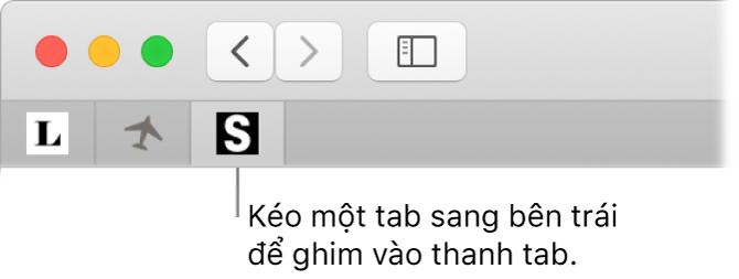 Một cửa sổ Safari đang minh họa cách ghim một tab vào thanh tab.