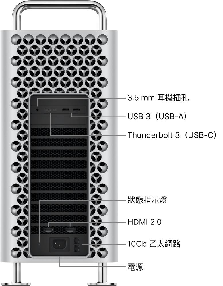 Mac Pro 的側面圖,顯示 3.5 公釐耳機插孔、兩個 USB-A 埠、兩個 Thunderbolt 3(USB-C)埠、狀態指示燈、兩個 HDMI 2.0 埠、兩個 10 Gigabit 乙太網路埠和電源埠。
