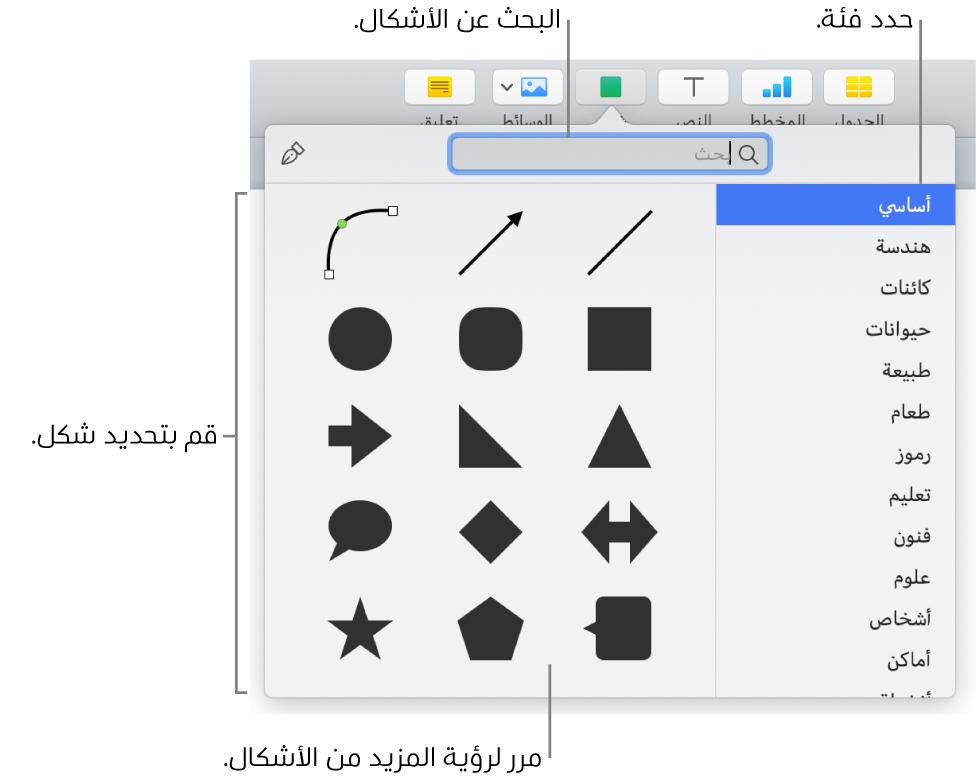 مكتبة الأشكال، مع الفئات مدرجة على اليمين والأشكال معروضة على اليسار. يمكنك استخدام حقل البحث بالجزء العلوي للبحث عن أشكال والتحريك لرؤية المزيد.