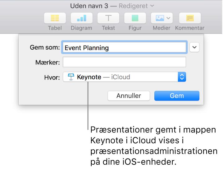 Dialogen Gem til en præsentation med Keynote – iCloud på lokalmenuen Hvor.
