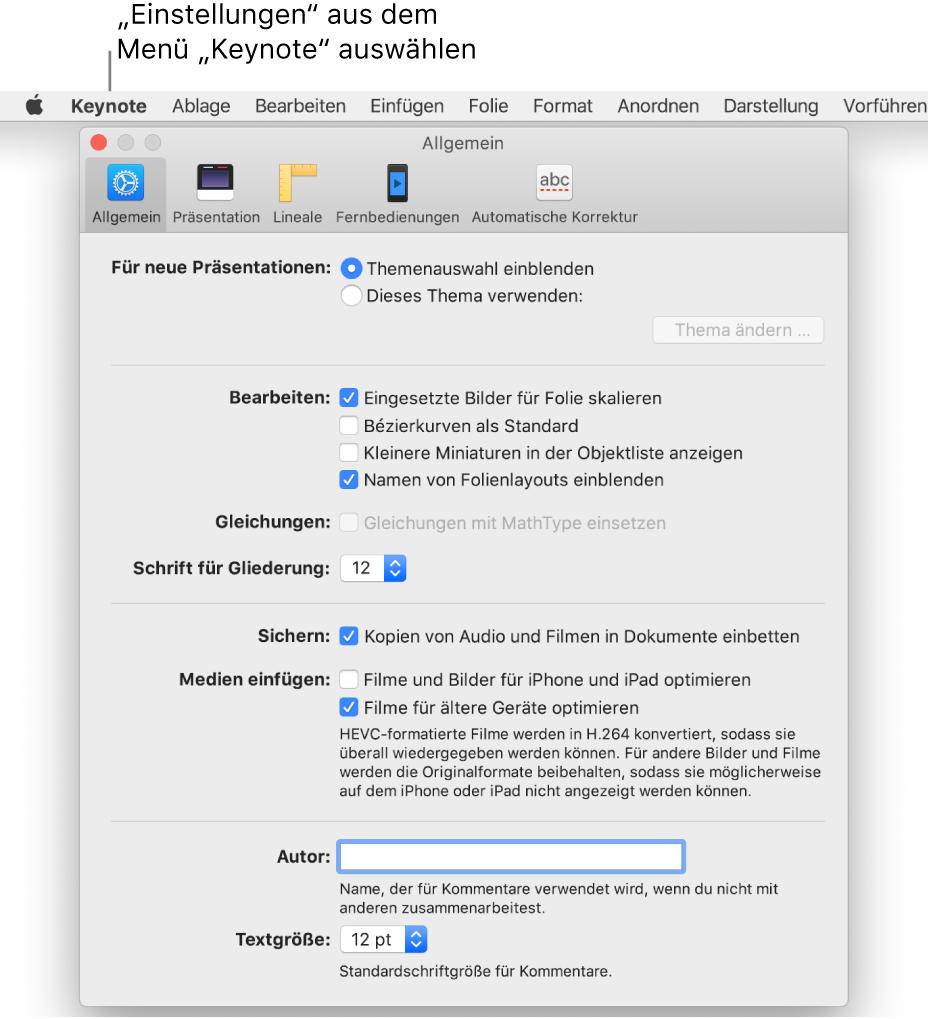 """Fenster mit Keynote-Einstellungen und geöffnetem Bereich """"Allgemein"""""""