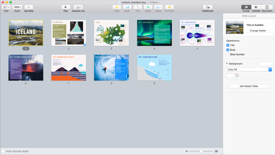 Light table view displaying nine slides horizontally in two rows, with options to change the theme's appearance in the Format sidebar on the right side of the screen.