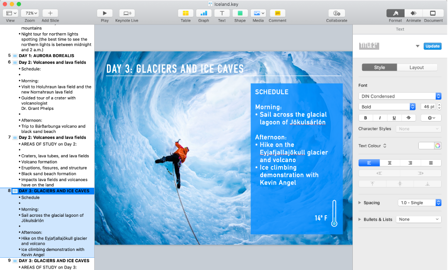 The outline view displaying an outline of the presentation in the left sidebar, the selected slide in the centre and the Format sidebar on the right side of the screen.