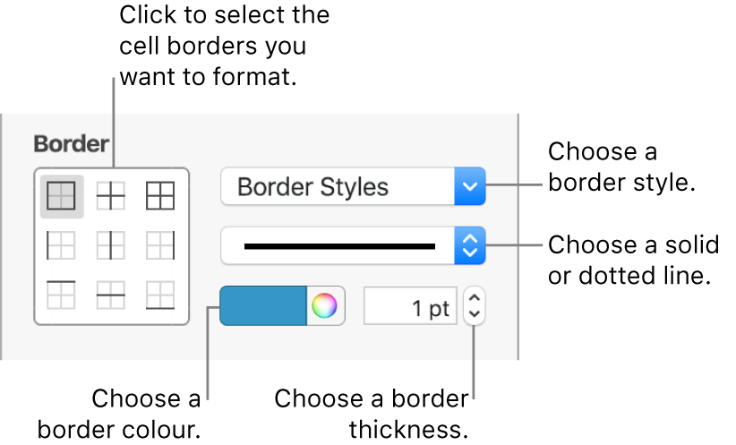 The Sidebar controls for changing the look of cell borders.