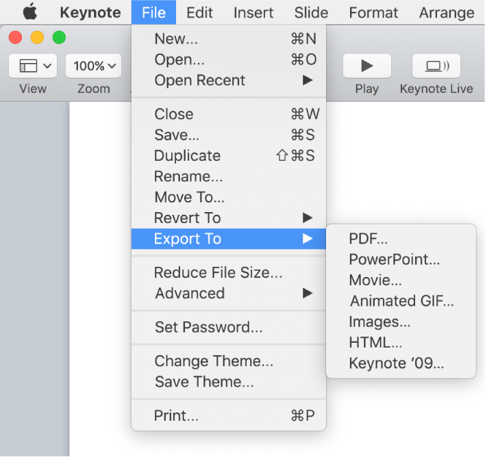 The File menu open with Export To selected and its submenu showing export options for PDF, PowerPoint, Movie, HTML, Images and Keynote '09.
