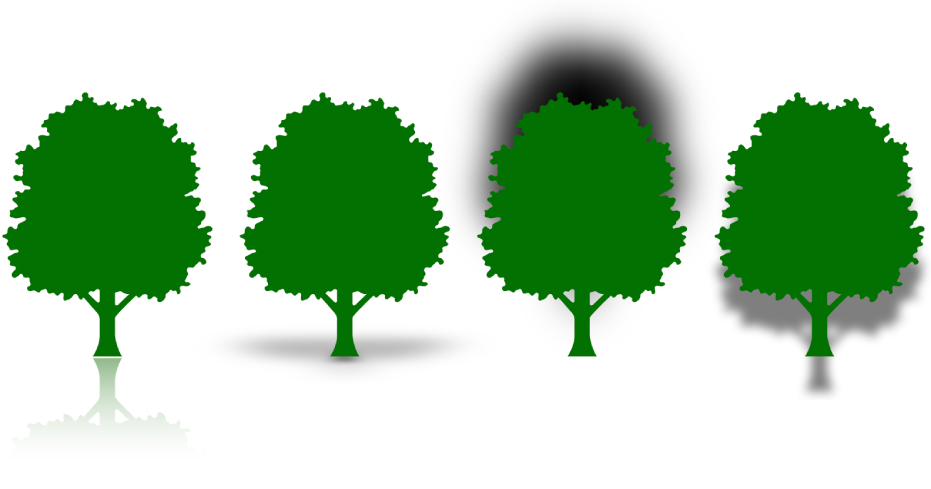 Four tree shapes with different reflections and shadows. One has a reflection, one has a contact shadow, one has a curved shadow and one has a drop shadow.
