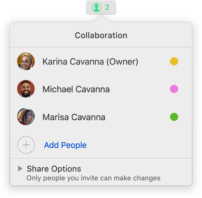 The Collaboration menu showing the names of people collaborating on the presentation. Share options are below the names.