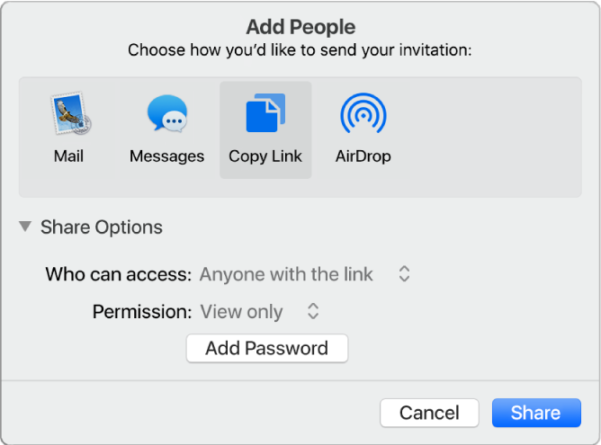 """The Share Options section of the collaboration dialogue open, with the """"Who can access"""" and the """"Permission"""" menus showing."""