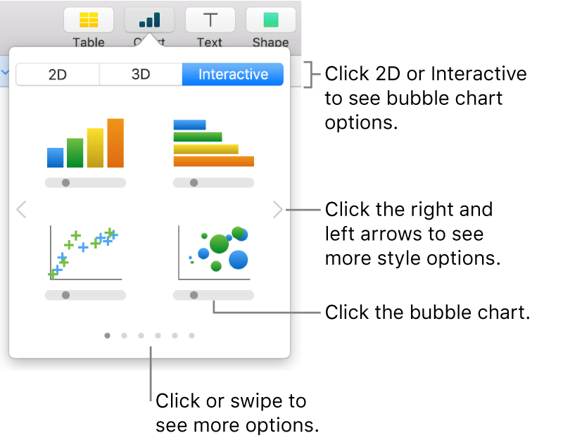 The add chart menu showing interactive charts, including a bubble chart.