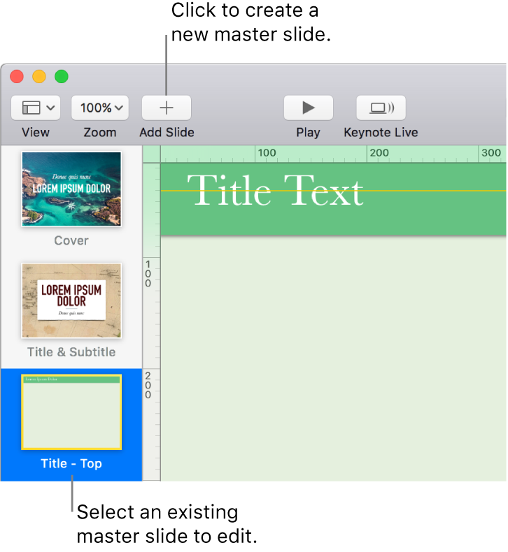 A master slide showing on the slide canvas, with the Add Slide button above it in the toolbar.