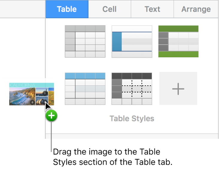Dragging an image into the table styles to create a new style.