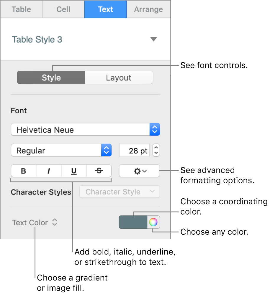The controls for styling table text.