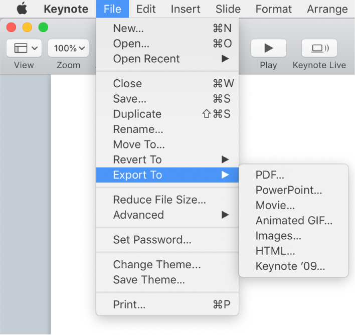 Export to PowerPoint or another file format in Keynote on Mac - Apple  Support