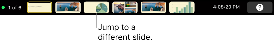 The MacBook Pro Touch Bar with presentation controls for exiting the presentation, jumping to different slides, and switching the presenter display.